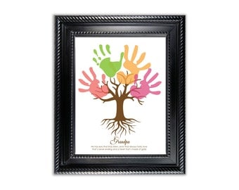 Tree Child's Handprint Art for Grandpa - kids art project - Digital - Instant download - father's day