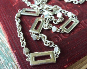 Vintage Long Chain Necklace Medallions Versatile Layered Style 1980s 1970s Silver