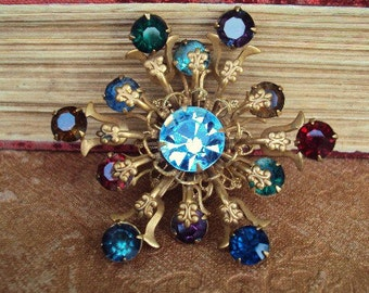 Vintage Rhinestone Brooch Pin Antique Brass Fleur De Lis Costume Jewelry Ruby Red Blue Amythest Glass Stone