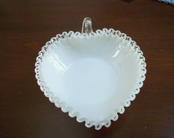 Vintage Collectible Glass Fenton Heart Shape Silver Crest Bowl Fluted Rim