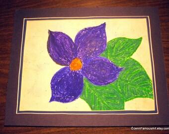 purple violet bloom Original Oil Pastel Drawing