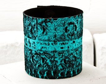 Turquoise Leather Jewelry - Sale Leather Cuff - Leather Wristband - Southwest Bohemian - Leather Bracelet - 2016 Fashion