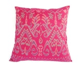 Pillow, Cushion, Ikat, Ethnic, Bohemian, Graphic, Tropical, Industrial, Bali, Indonesia, Cotton, 16 x 16, Pink