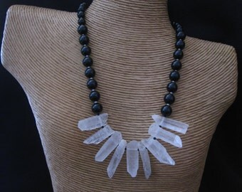 Rock Crystal Onyx Necklace, Black and White, Rock Crystal Quartz Points, Black Onyx Beads, Black Onyx Necklace, Rock Crystal Jewelry