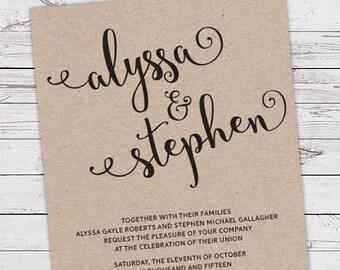 Printable Wedding Invitation Set - Invite, RSVP Card, Info Card - Simple Script