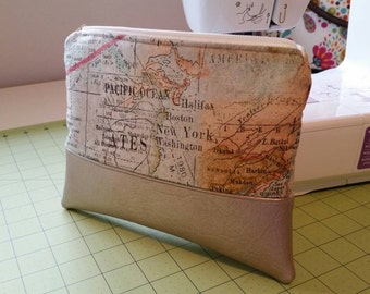Map and Antique Script Zipper Pouch with Metallic Gold Accent Cosmetic Toiletry Makeup Bag