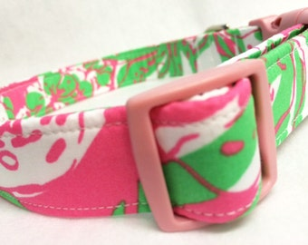 Lilly Pulitzer Fabric Dog Collar Forgot My Trunks Pink Green
