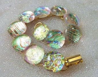 Link Bracelet, Dichroic Fused Glass Bracelet in Sparkling Translucent Gold, Elegant Link Bracelet, Gold Bracelet in Dichroic Glass