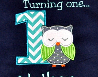Birthday Boy Outfit - Monogrammed/Personalized First Birthday Look Who's Turning 1 Owl Appliqued Navy T-shirt , Sizes 12mo, 18mo, or 24 mo