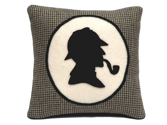 Sherlock Holmes Bookshelf Pillow Houndstooth with Victorian Style Shadow Silhouette and Kapok insert