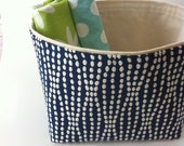 NEW color - large blue and cream textured // fabric storage basket // bin