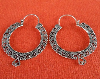 Balinese silver sterling hoop earrings  / silver 925 / Bali Handmade Jewelry / 1.50 inch long