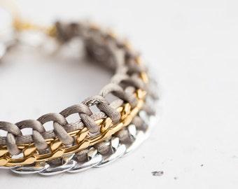Khaki Chain Braided Bracelet Pastel Olive Cord friendship silver gold bracelet Modern minimalist jewelry