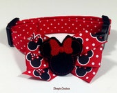 Minnie Mouse Dog Collar Size XS through Large by Doogie Couture Pet Boutique