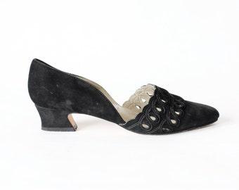 Vintage Black Suede d'Orsay Peekaboo Low Heels, size 6.5