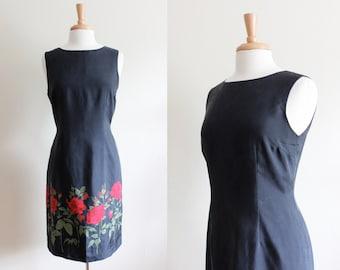 Vintage Black Silk Red Roses Sheath Dress