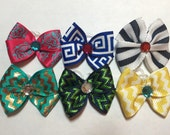 6 Assorted Summer 2015 Dog Grooming Hair Bow with Rhinestone Center - Blue, Yellow, Pink, Green