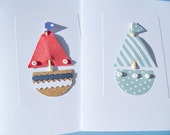Nautical Cards - Sailboat Cards - Baby Shower Cards - Nautical Baby Cards - Nautical Birthday Cards - Set of 2 cards - HMSB