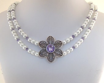Double White Flower Necklace - Glass Pearl Necklace - Tanzanite Swarovski Necklace - Pearl Necklace - Purple Necklace - Flower - N015