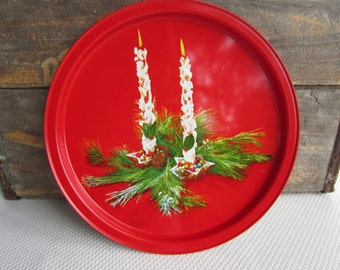 Vintage Christmas Holiday Candles on Red Metal Serving Tray