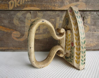 Antique Painted Cast Iron Clothes Iron Cottage Chic Decor