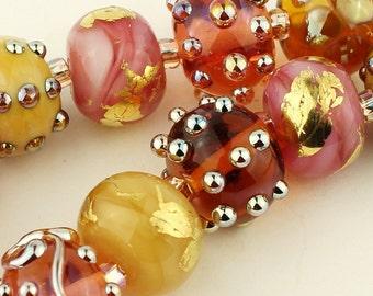 SRA Handmade Lampwork Glass Bead Set Pink Gold Iridescent  'Pink Champagne'