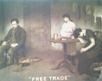 vintage postcard, victorian women, free trade card, antique postcard, victorian sweat shop