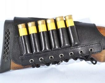 New Black Leather Butt Stock holder Cover for SHOTGUN with 6 shells 20 Gauge Ammo Cartridge Hunting Shotgun  /   Ducks