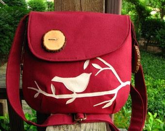 Bird Purse, Handmade Wood Buttons , Appliqued, Handbag, Messenger, School Bag,Applique/Vegan/MORE COLORS AVAILABLE