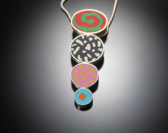 Sterling silver polymer necklace #37