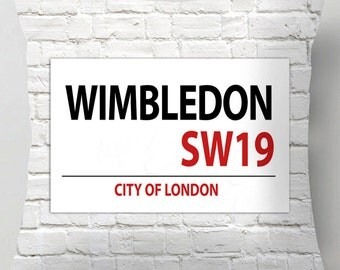 Wimbledon city of london street sign cushion / pillow