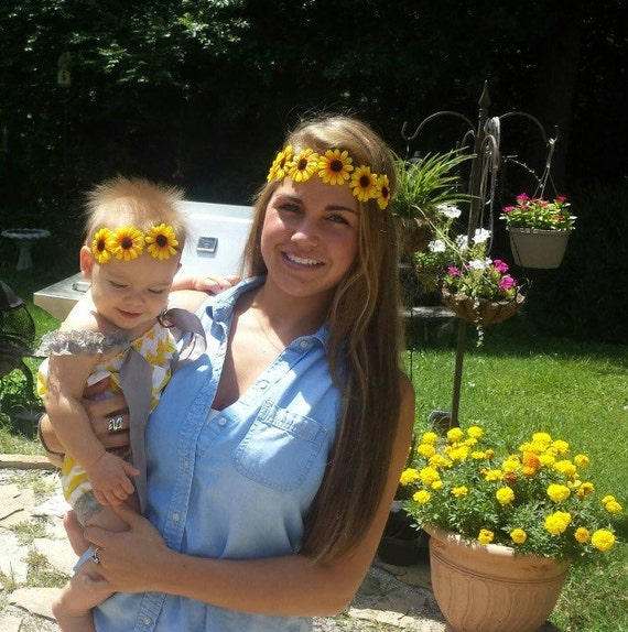 Mommy and Me matching SunFlower Bohemian Flower Power Headbands - Flower Crown -Halo