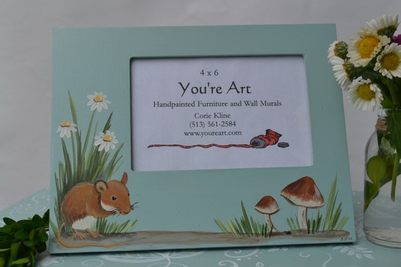 Mouse Hand Painted Picture Frame/ Nature Frame/ Mushroom Frame
