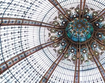 Paris Photography - Galeries Lafayette Ceiling, Teal Blue Architectural Detail, Paris Art Print, Large Wall Art, French Home Decor