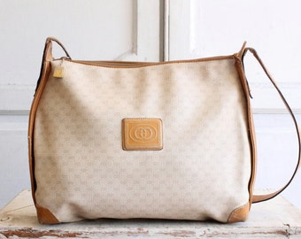 SALE large vintage Gucci crossbody bag 80s tan & cream monogram