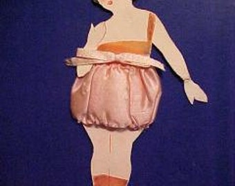 Vintage 1920s Flapper PAPER DOLL in Silk Puff Panties Lingerie For Framing