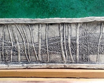 Birch Trees Ceramic Porcelain Relief Pottery Tile