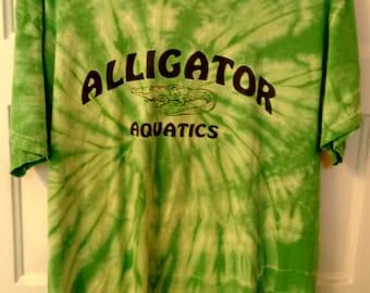 Alligator Aquatics tie dye tshirt Large women green yellow hippie grunge boho