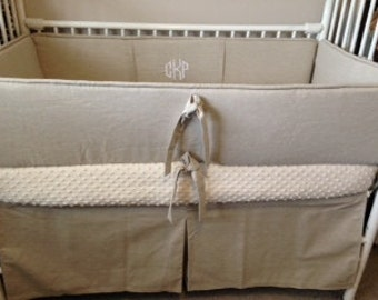 Baby bedding Crib set  crib bedding natural linen taupe neutral Full payment