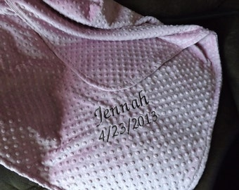 Personalized minky dot baby blanket