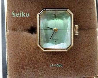 FREE SHIP Rare Seiko Ladies Ring Watch - Green Faceted Crystal Face (4-4686)