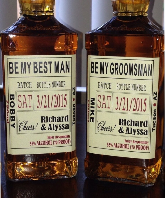 Be my best man custom wedding party and groomsman liquor for Groomsman liquor bottle labels