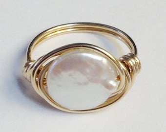 Pearl Ring    Coin Pearl Ring   White Coin Pearl Ring  Gold Ring  14K Gold Filled Ring   Wire Wrapped Ring