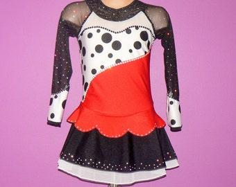 Cruela De Ville Inspired Figure Skating Dress. Performance Dress. Figure Skating Competition Dress. SIZES 2T - Girls 12