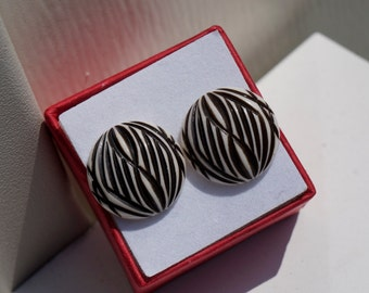 Tribal Baby- Black and White Zebra Designed Lucite Earring Set- Rockabilly Zombie!