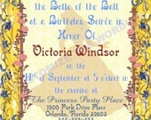 BELLE Beauty and the Beast Inspired Invitation Fairytale Parties CUSTOM Wording