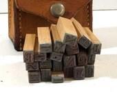 Vintage Letterpress Blocks, Stamps or Printing Blocks. Leather Case