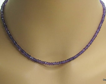 Amethyst Rondelle Necklace in Sterling Silver