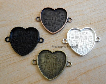 "10 1"" Heart Double Loop Charms Pendants Black Bronze SIlver Copper You Choose Bezels"