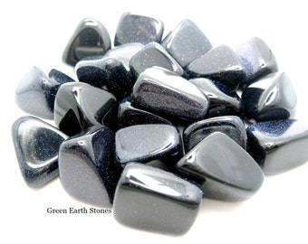 ONE XL Blue Goldstone Tumbled Stone, Crystals, Feng Shui, Pagan, Metaphysical, Premium